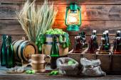 Ingredients for homemade beer stored in the cellar — Stock Photo
