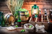 Tasting home-brewed beer in the cellar — Stock Photo