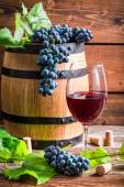Glass of red wine and grapes — Stock Photo