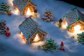 Small gingerbread village built from sweetness — Zdjęcie stockowe
