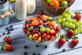 Preparing a healthy fruit salad — Stock Photo