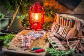 Fresh venison prepared for roasting in hunter lodge — Stock Photo