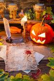 Tablo cadılar kaydırma yazmaya hazır — Stok fotoğraf