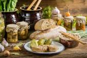 Sandwich in the pantry of supplies for the winter — Stock Photo