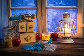 Warming tea in a winter cottage — Foto Stock
