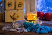 Warming tea in the winter evening — Stock fotografie