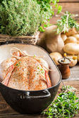Chicken with spices and vegetables in casserole — Stock Photo