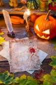 Halloween place on the old witches table — Stock Photo