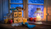 Warming tea in a winter cottage — Stock Photo
