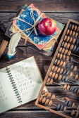 Mathematics notes on the school desk — Stock Photo