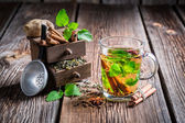 Hot leaf tea with cinnamon — Foto de Stock