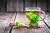 Green tea with cinnamon bark — Stock Photo
