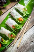 Spring rolls with vegetables and chicken — Stock fotografie