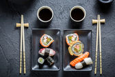 Closeup of sushi for two people — Stock Photo