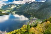 View of Hallstatt at sunset from the top — Stock Photo