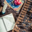 Mathematics notes on the school desk — Stock Photo #56497343