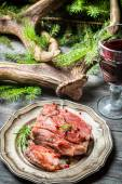 Piece of venison served with red wine — Foto de Stock