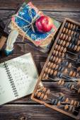 Mathematics notes on the school desk — Stock Photo