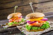 Two tasty homemade burgers — Stock Photo