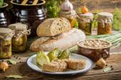 Sandwich in the pantry from the winter stocks — Stock Photo