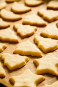 Closeup baked homemade cookies on a baking tray — Stock Photo