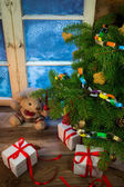 Vintage Christmas in rustic cottage — Stock Photo