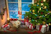 Presents and gingerbread cookies for Christmas — Stock Photo