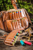 Cartridge belt and bag hunting — Foto de Stock