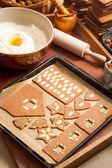 Listo para hornear galletas caseras de pan de jengibre — Foto de Stock