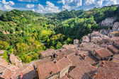 View of a green valley in Sorano over red roofs, Italy — Stock Photo