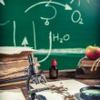 Old biology lesson in classroom — Stock Photo #58722063