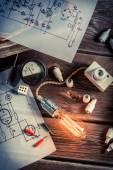 Vintage study of electric current — Stock Photo
