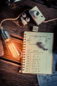 Ohms law results in a physics laboratory — Stock Photo