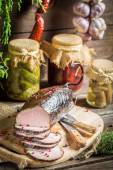 Closeup of fresh smoked ham in pantry — Stock fotografie