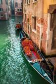 Beautiful gondolas on a canal in Venice — Stock Photo