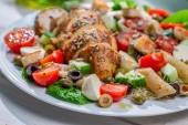 Closeup of homemade caesar salad with fresh vegetables — Stock Photo
