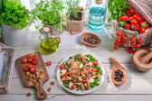 Caesar salad prepared in spring time — Stock Photo