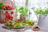 Cieszyć się twój wiosna sałatka z łososia — Zdjęcie stockowe