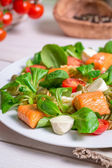 Closeup of healthy salad with salmon — Stock Photo