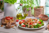 Healthy homemade food with vegetables — Stock Photo