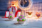 Enjoy your christmas cupcake — Stock Photo