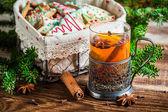 Warming aromatic tea in Christmas evening — Stock Photo