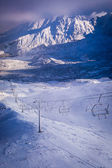 Aerial lifts above the valley in the winter — Stock Photo