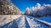 Frozen unused railway line in winter — Stock Photo