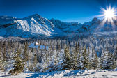 Warm winter shelter in the mountains — Stock Photo