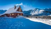 Warm accommodation in a mountain cottage in winter — Stock Photo