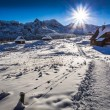 Winter mountain trail to a warm shelter — Stock Photo #62120045