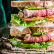 Healthy homemade sandwich with meat — Stock Photo #62327601
