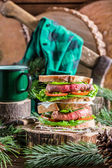 Homemade big sandwich for woodcutter — Stock Photo