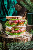 Meaty homemade sandwich with vegetables — Stock Photo